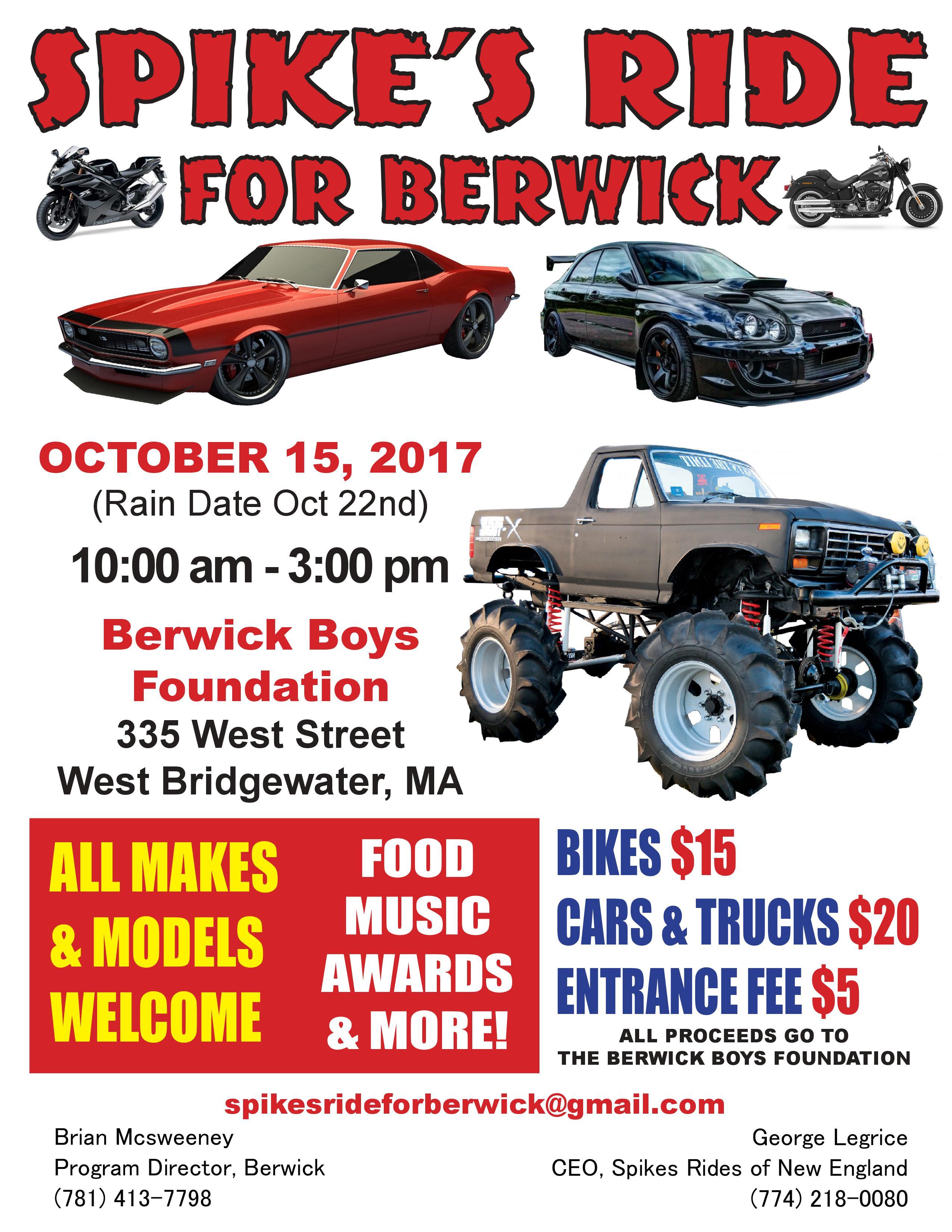 Berwick Car Show Berwick Boys Foundation - Car show flyer
